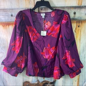 NWT A New Day V-Neck Wide Sleeve Floral Blouse Purple Red Large